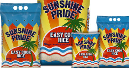 Packaging design for rice brand Sunshine Pride - The Finishing Post Design & Marketing, food branding and packaging agency, Suffolk, East Anglia.
