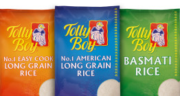 Packaging design and brand refresh for Tolly Boy rice - The Finishing Post Design & Marketing, food branding and packaging agency, Suffolk, East Anglia.