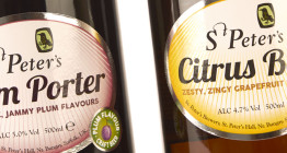 Packaging design for St Peter's Brewery fruit beers for Morrisons beer festival