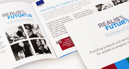 Brochure design for Realise Futures corporate brochure by The Finishing Post
