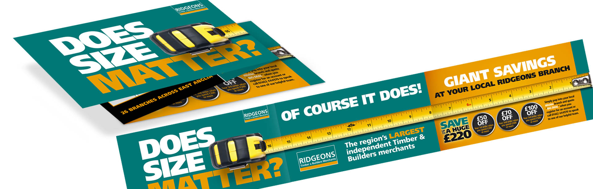 Direct mail design for Ridgeons builders merchants by The Finishing Post, Suffolk design agency