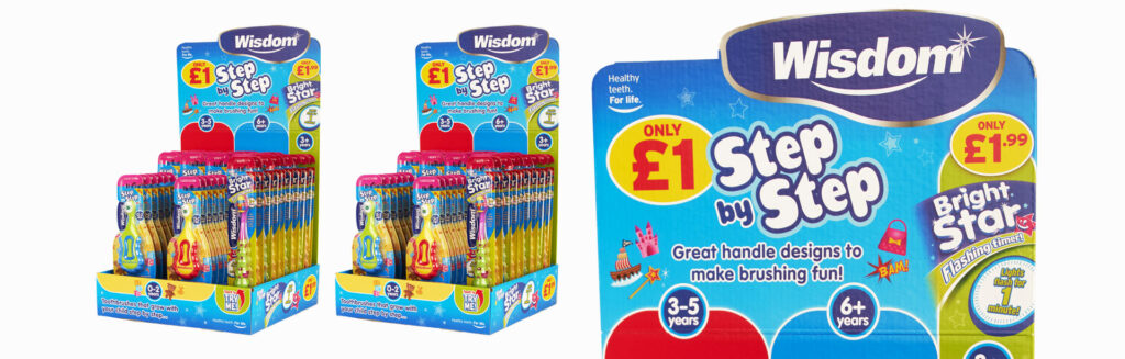 Wisdom Toothbrushes point of sale design – design agency Cambridge
