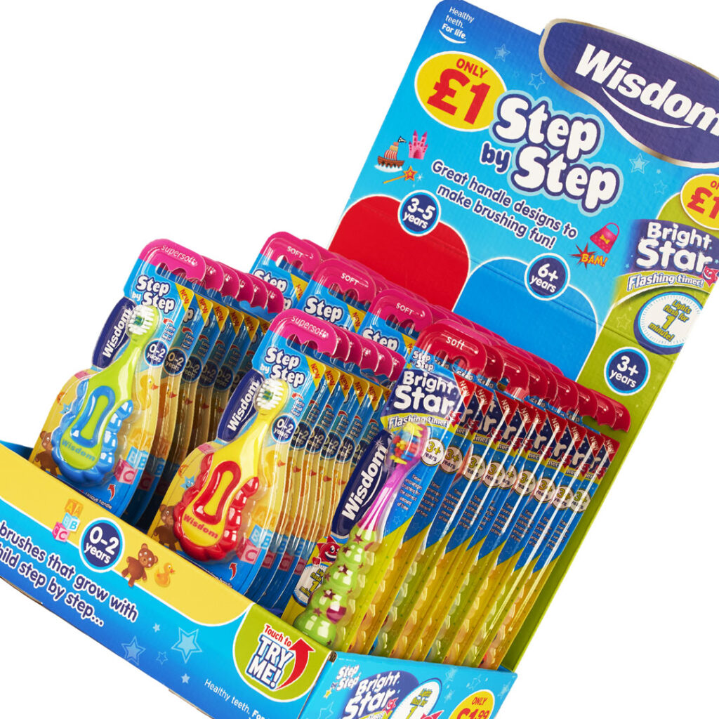 Wisdom Toothbrushes Step by Step & Bright Star point of sale design