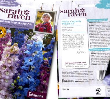 JOHNSONS SARAH RAVEN FLOWER SEEDS PACKAGING DESIGN