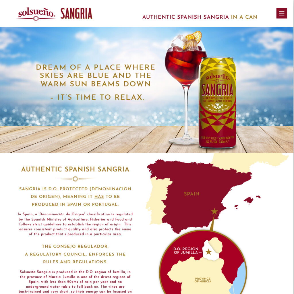 Solsueno Sangria website design