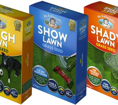 Mr Fothergill's lawn seed box packaging design